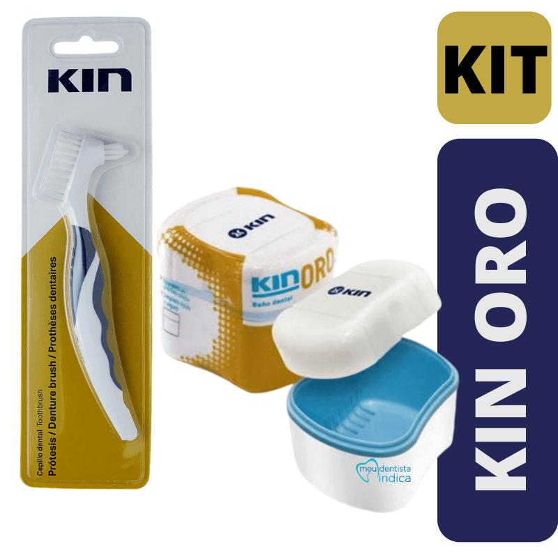 KIT KIN ORO - Escova Protese Kin + Estojo de Prótese/Dentadura