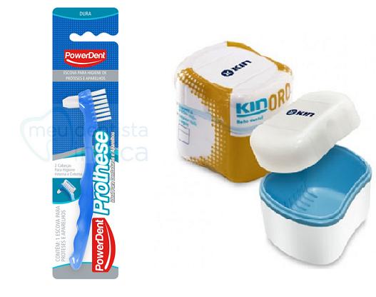 Kit Limpeza de Prótese - Escova + Estojo Kin