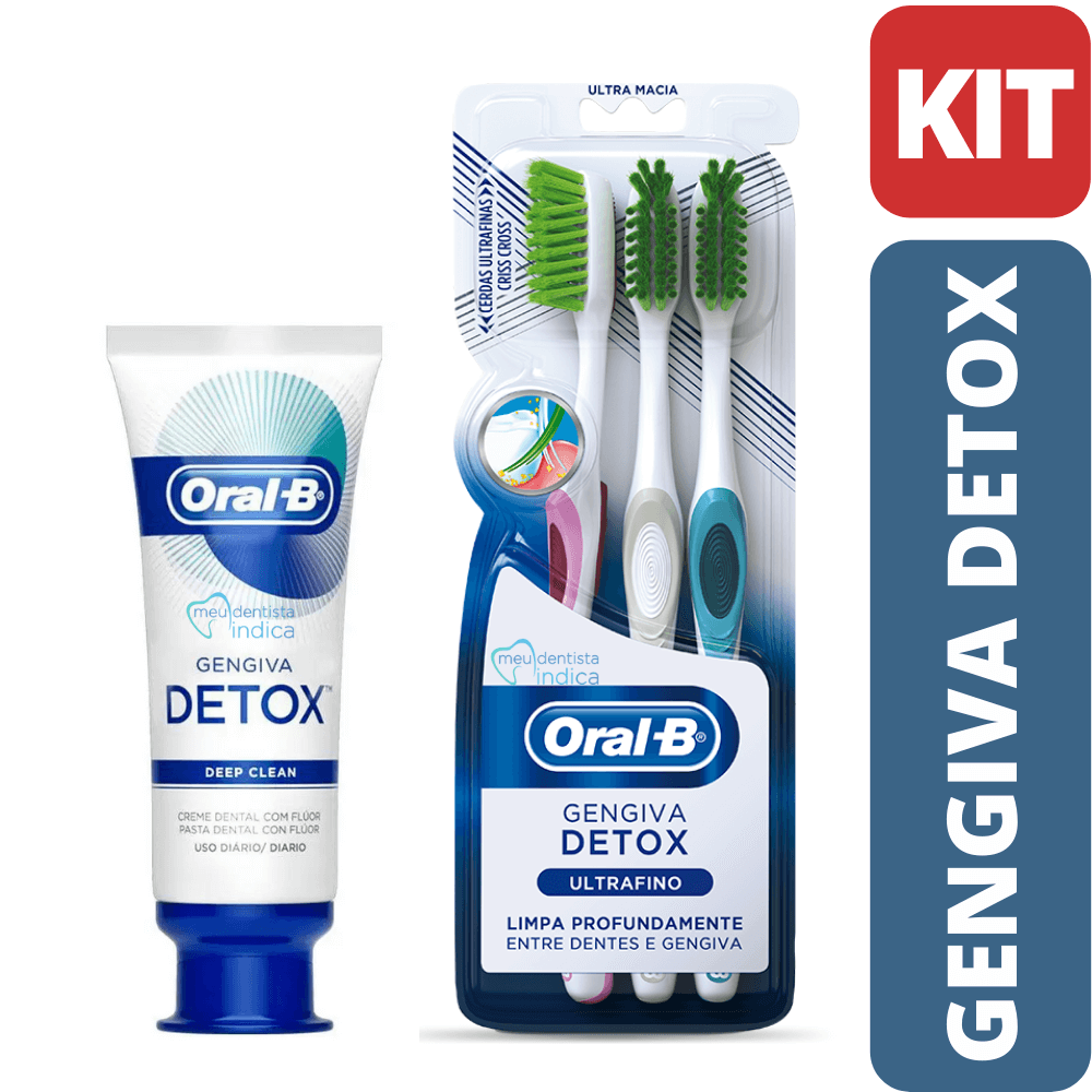 KIT DETOX Deep Clean Oral B (Creme Dental + 3 Escovas Dentais)