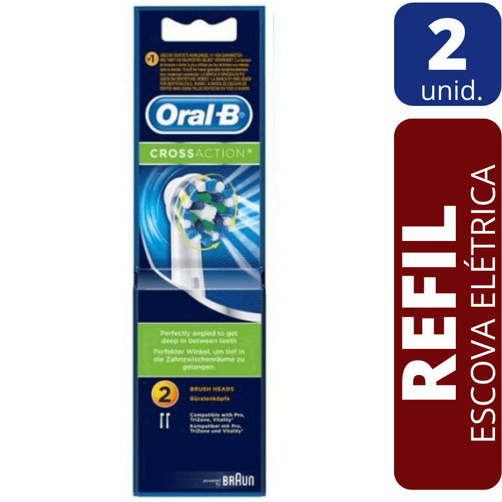 Refil Escova Dental Elétrica Oral B - CrossAction 2 unidades