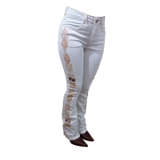 Calça Feminina Off White Bordada Boot Cut 201848