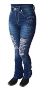 Calça Jeans Feminina Flare Docks Bordada