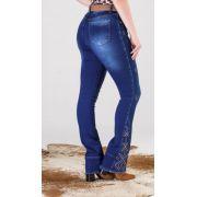 Calça Jeans Feminina Minuty Boot Cut Strass 19549
