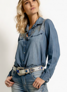 Camisa Jeans Feminina London Texas West Dust