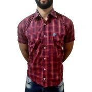 4f527b5dede0d Camisa Masculina Manga Curta Ox Horns Vermelho Xadrez 9009