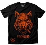 Camiseta Masculina Foxhound Preta e Laranja C02