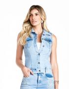 Colete Jeans Feminino Bordado Minuty Country 21938
