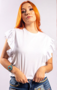 Cropped Miss Country Babado Branco