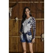Short Jeans Feminino Bordado Minuty Country 20587