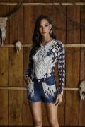 Short Jeans Feminino Bordado Minuty Country 20587