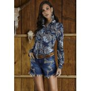 Short Jeans Feminino Bordado Minuty Country 20592