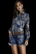 Short Jeans Feminino Bordado Minuty Country 20592