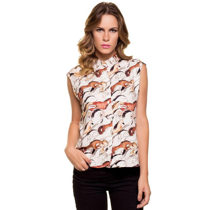Camisa feminina - Estampa cavalos - Celeiro Country 0a13b6d9057
