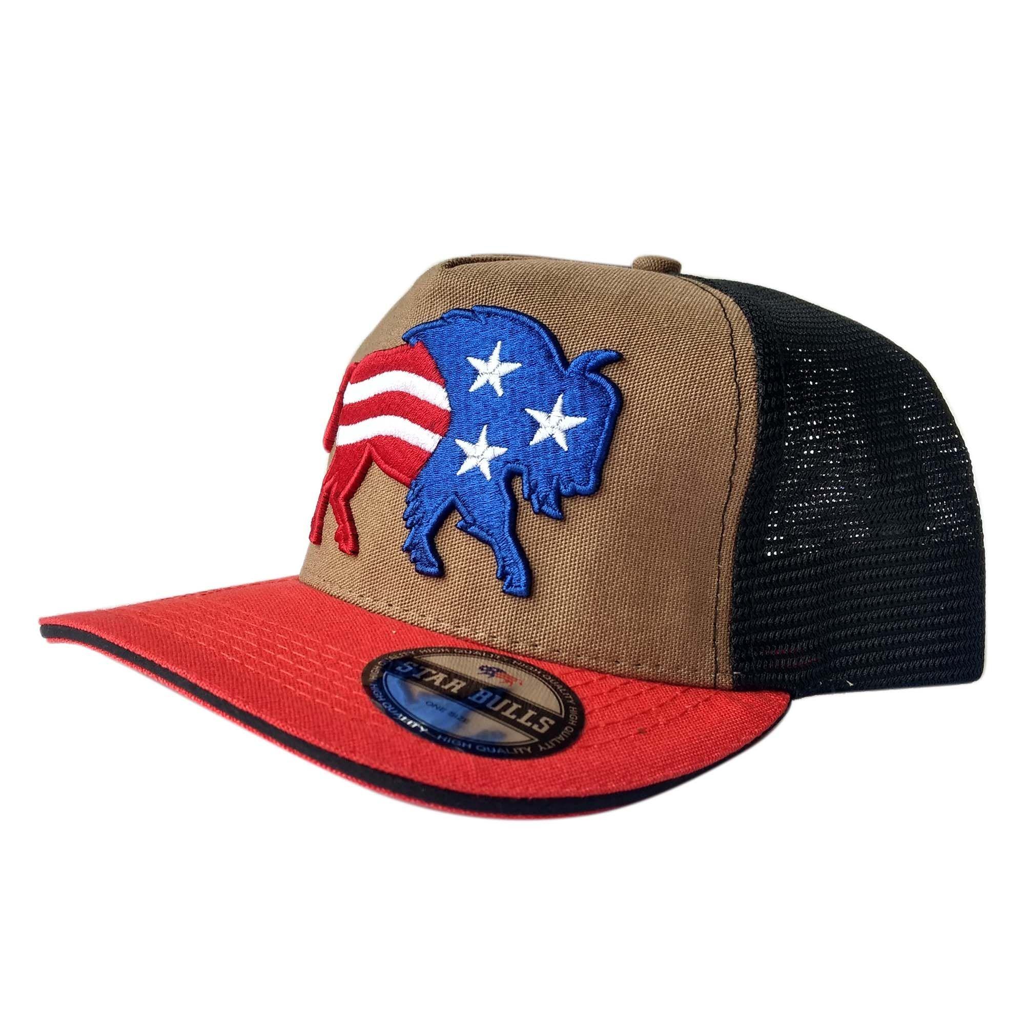 501c5489c25e6 Boné Star Bulls Marrom Aba Vermelha Logo USA - Celeiro Country