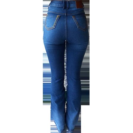 Calça Jeans Feminina Minuty Bordada Hot Pant Flare 201836