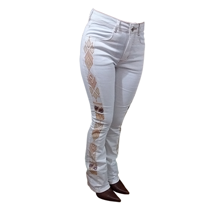 Calça Feminina Off White Bordada Boot Cut 201848