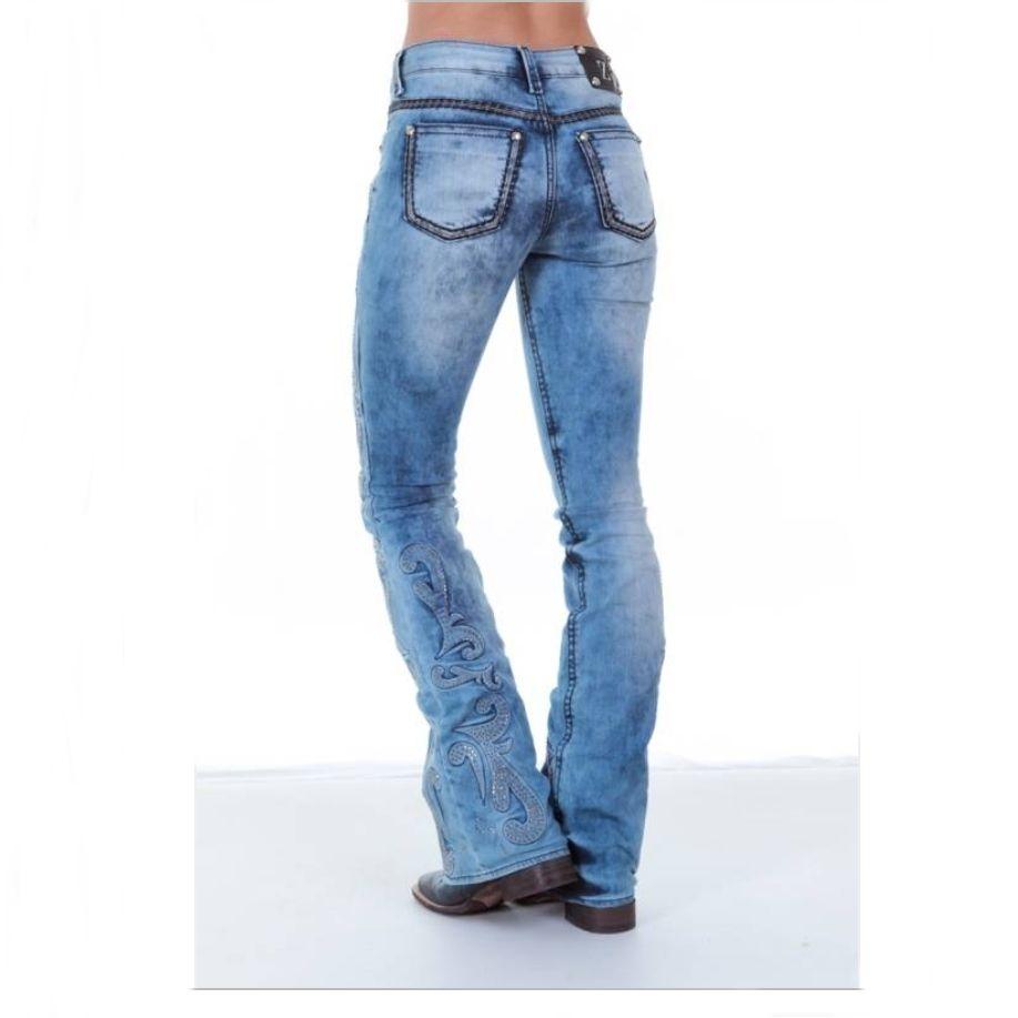 0a845923015 Calça Jeans Flare Feminina Zenz Western Roling Stones 8034 | Celeiro ...