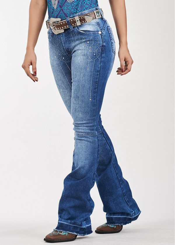 Calça Jeans Feminina Bordada Docks Noite