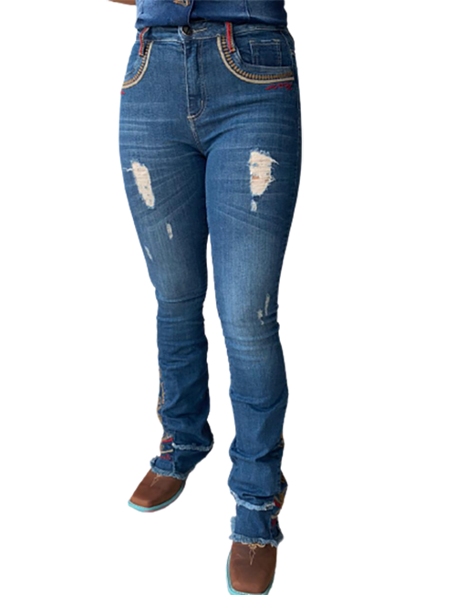 Calça Jeans Feminina Flare Minuty Country Bordada 21789