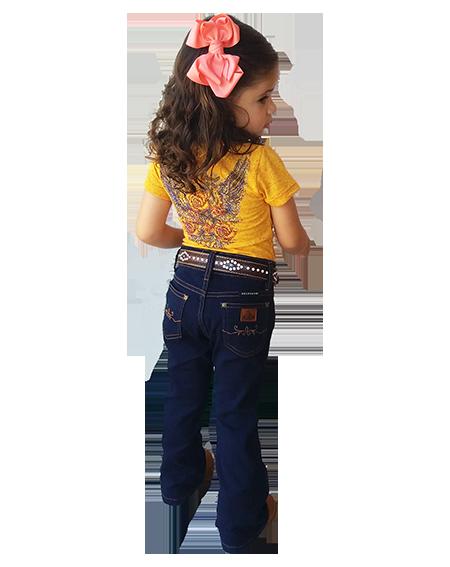 Calça Jeans Feminina Infantil Azure Selvagem Country 1276
