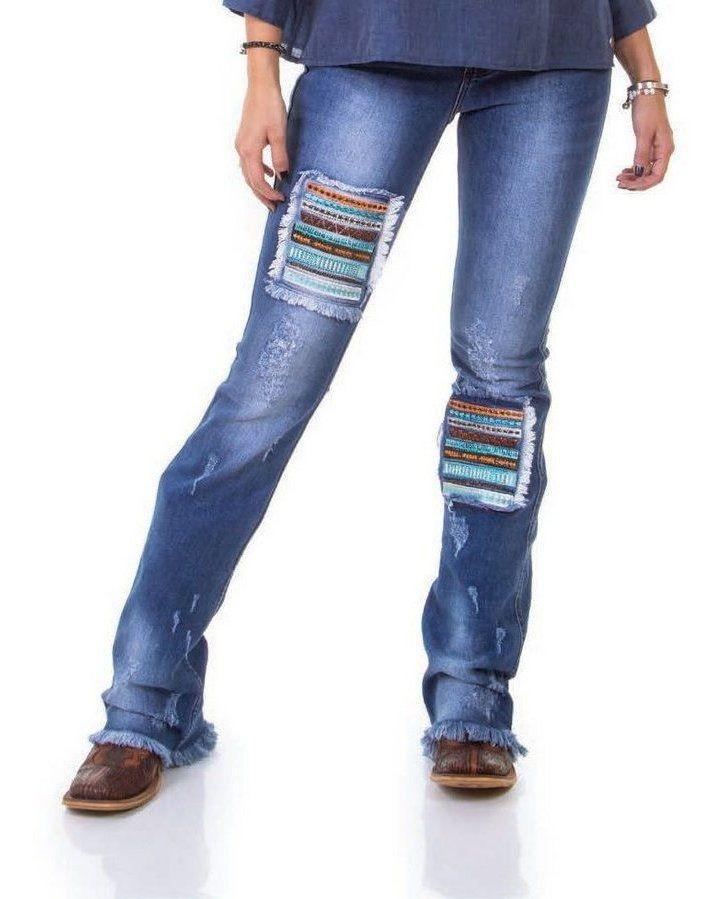 Calça Jeans Feminina Zenz Western Amarillo