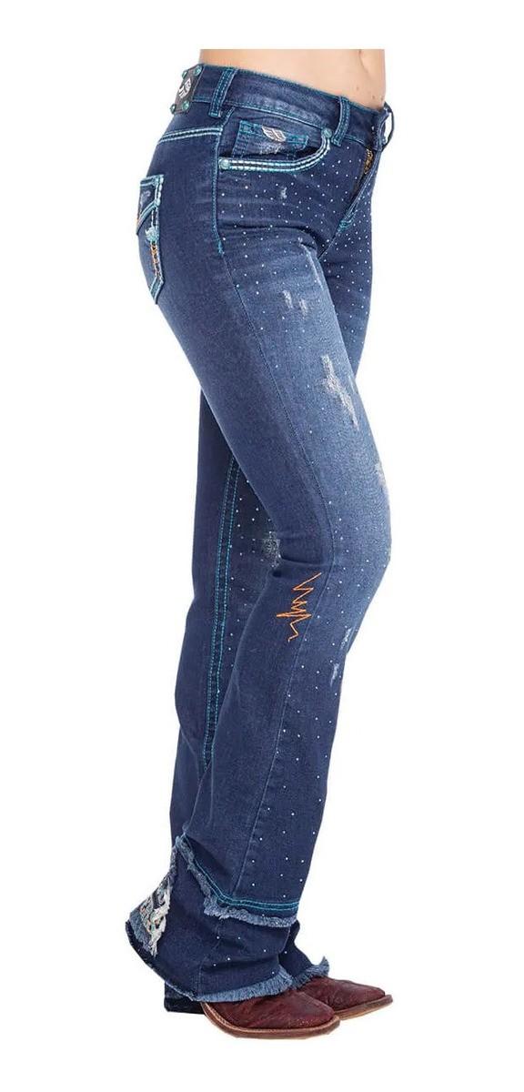 Calça Jeans Feminina Zenz Western Dark Blue