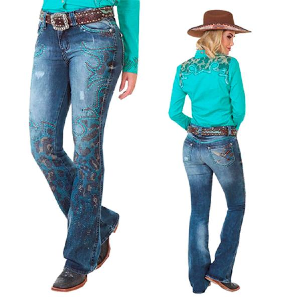 Calça Jeans Feminina Zenz Western Guepardo