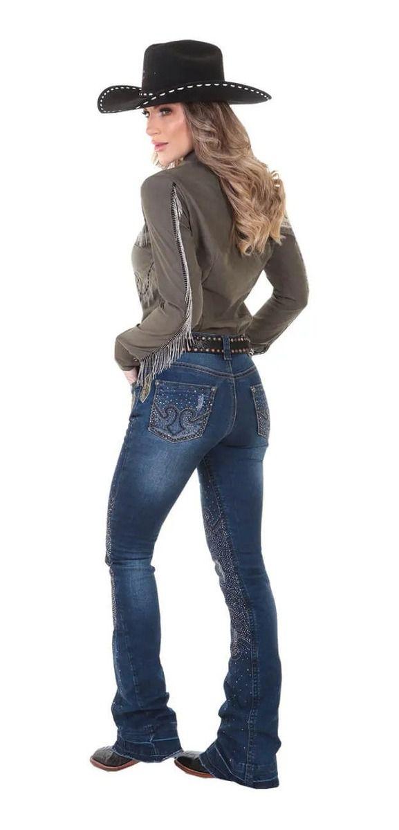 Calça Jeans Feminina Zenz Western Hippie
