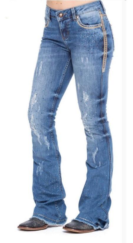 Calça Jeans Feminina Zenz Western Navy