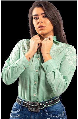 Camisa Feminina Miss Country Arabesco Verde