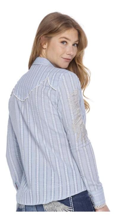 Camisa Feminina Zenz Western Celeste ZW62059090