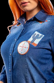 Camisa Jeans Feminina Miss Country Bang Bang