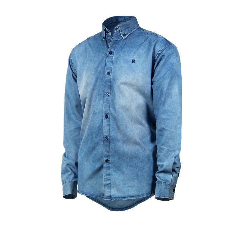 0a4e766639474 Camisa Jeans Masculina TXC Manga Longa 2074L
