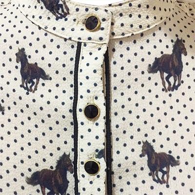 Camisa Feminina Manga Longa Horses Estampada Docks