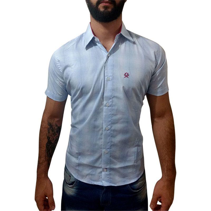 Camisa Masculina Manga Curta Ox Horns Xadrez Azul Branco 9021 ... d0516bc0619ea