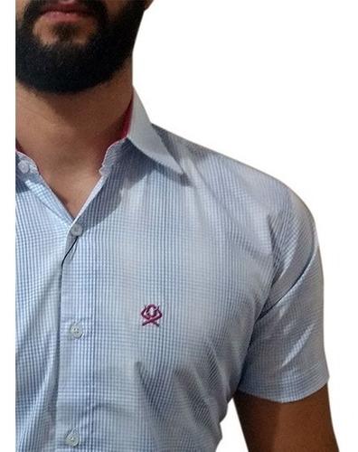 Camisa Masculina Manga Curta Ox Horns Xadrez Azul/Branco 9021