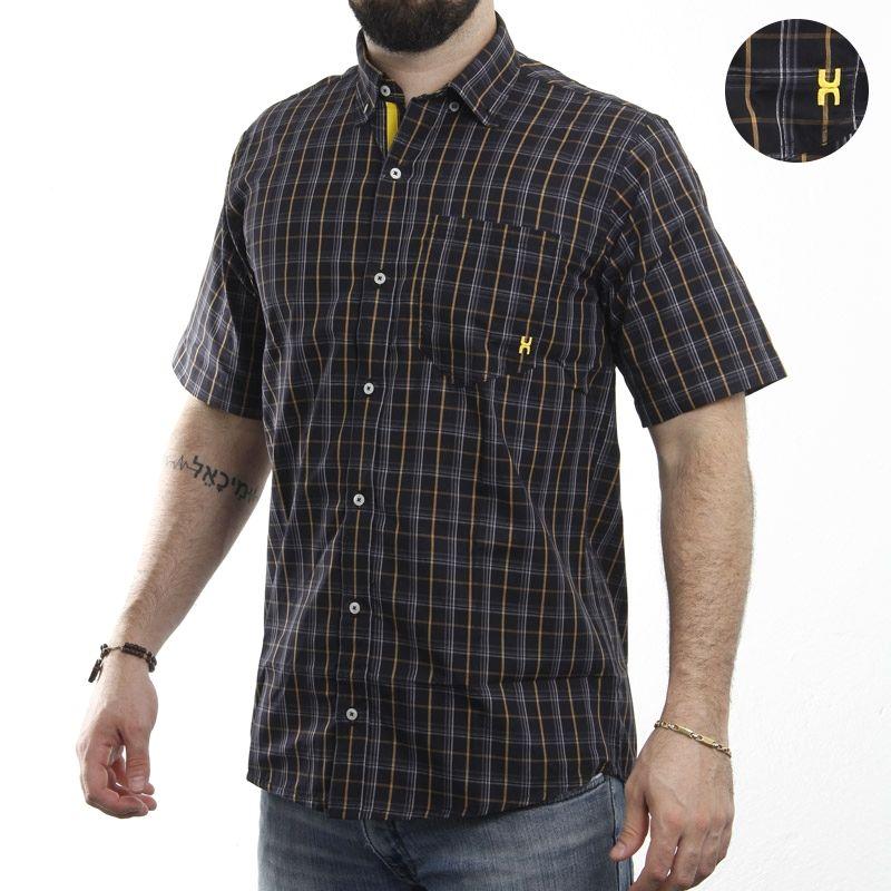 Camisa Masculina Manga Curta TXC Xadrez Preto 2124L  25e626ccd18