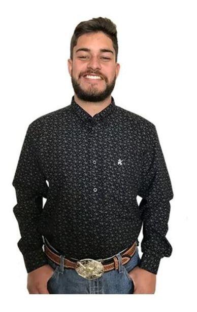 Camisa Masculina Os Coroné Floral Preta