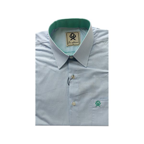 Camisa Masculina Ox Horns Azul Claro/ Xadrez 9012