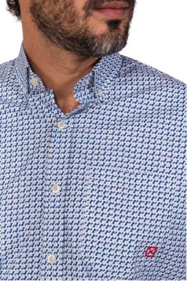 Camisa Masculina TXC Brand Azul e Branco 2675C