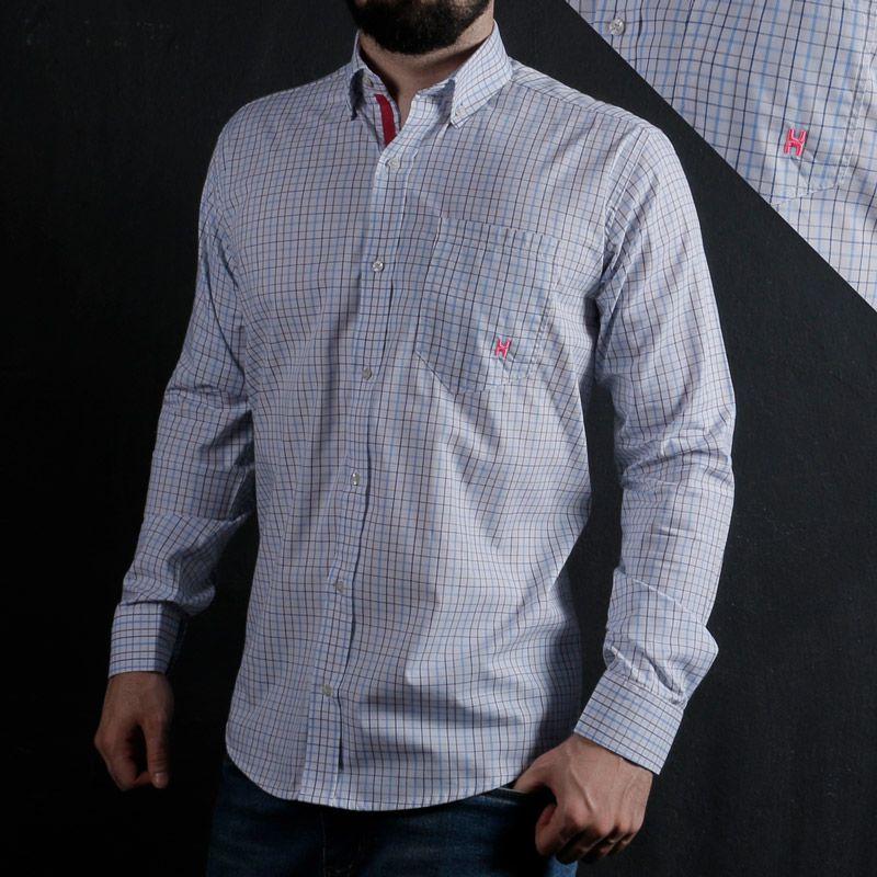 c63347cb9f Camisa Masculina TXC Xadrez Azul Branco 2297L