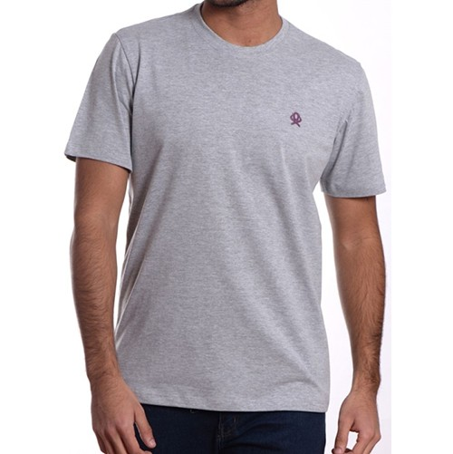 Camiseta Masculina Ox Horns Básica Cinza Mescla 8004
