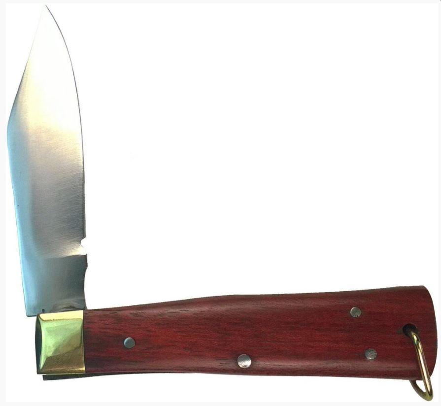 Canivete Karajas Inox Cabo Madeira Quadrado Grande