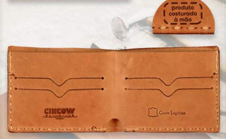 Carteira Couro Cincow Whisk/Bege 9418