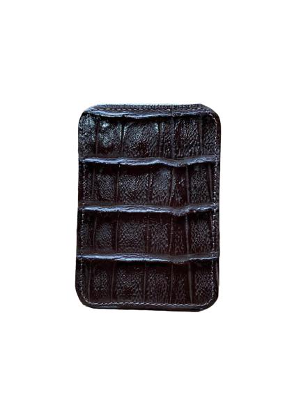 Porta Cartão Couro Crocodilo Cincow Cacau 9509