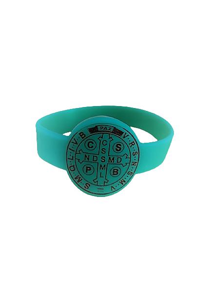 Pulseira Silicone Medalha São Bento Verde