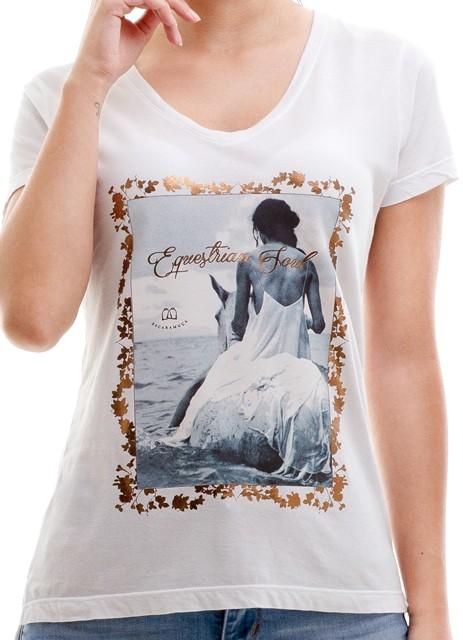 T-shirt Camiseta Feminina Escaramuça Sea Horse Branco 36005dd36ae