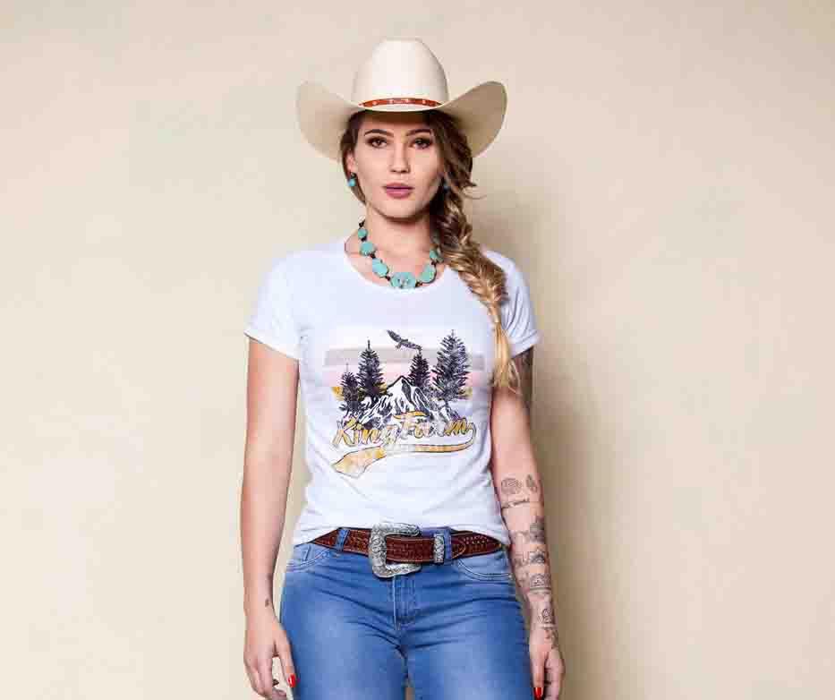 T- Shirt Feminina King Farm Branco GCF01
