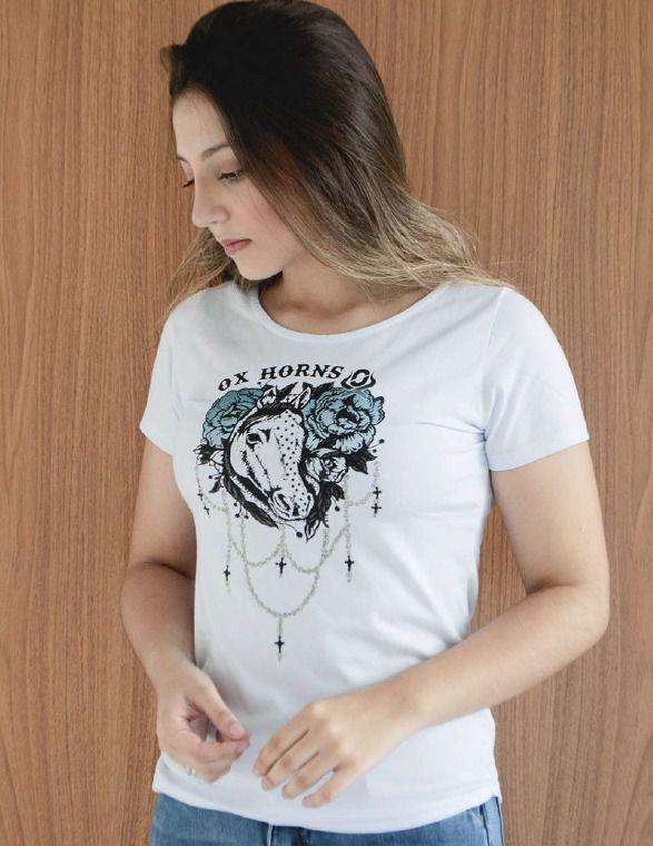 T-Shirt Feminina Ox Horns Branca 6132