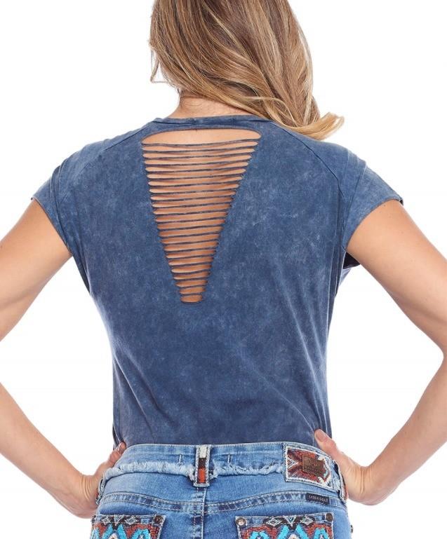 T-Shirt Feminina Tassa Marmorizada Azul 4198